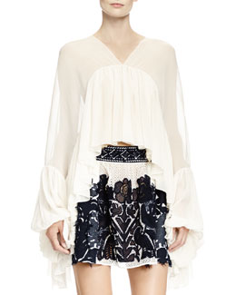 Chloe Full-Sleeve Flounce Blouse, Natural