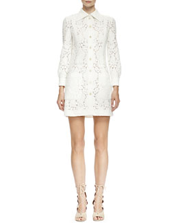 Chloe Long-Sleeve Guipure Lace Shirtdress, Milk