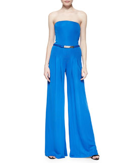 Ralph Lauren Black Label Breena Strapless Crepe Jumpsuit, Hydro Blue