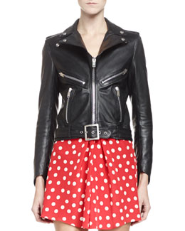 Saint Laurent Leather Motorcyle Jacket with Belted Waist
