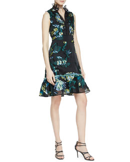 Erdem Sleeveless Floral Print Dress with Tulle Trim