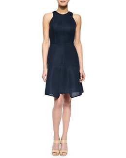 Lela Rose Seamed Pique Tiered Dress, Navy