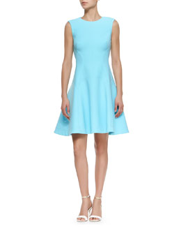 Lela Rose Raised Seam Scuba Dress, Sky