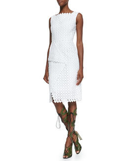 Erdem Sleeveless Square-Neck Lace Dress