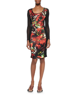 Jean Paul Gaultier Cherry Butterfly-Print Fishnet Lace-Inset Dress, Black/Red
