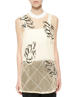 Lattice Plume-Print Sheer Tank, Whisper Pink