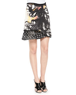 3.1 Phillip Lim Mixed-Print Ruffle-Paneled Skirt, Black Mimosa