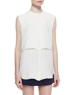 Adam Lippes Sleeveless Double-Layer Shell