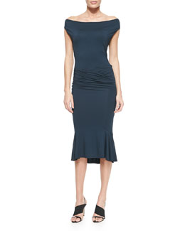 Donna Karan Draped Flute-Skirt Jersey Dress
