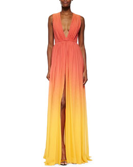 Elie Saab High-Slit Ombre Silk Gown, Coral Reef/Lemon