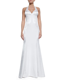 Rubin Singer Silk Open-Back Halter Gown, White