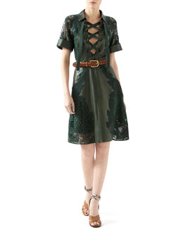 Gucci Leather Dress With Broderie Anglaise Detail