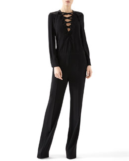 Gucci Matte Satin Jump Suit With Lace-Up Detail
