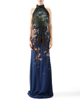 Gucci Embroidered Silk Chiffon Sleeveless Gown