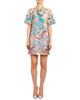 Mary Katrantzou Short-Sleeve Discosoma Gaynor Shift Dress, Orange/Blue