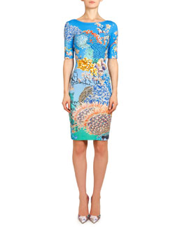 Mary Katrantzou Ramora Ocean Plie Jersey Dress, Blue/Multi