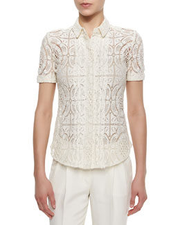 Burberry London Short-Sleeve Lace Button Blouse, Parchment