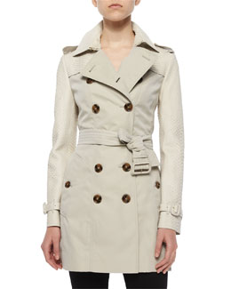 Burberry London Bythan Python-Trimmed Double-Breasted Trenchcoat