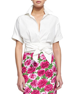 Michael Kors Short-Sleeve Wrap-Front Blouse, Optic White
