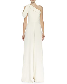 Alexander McQueen One-Shoulder Wide-Leg Jumpsuit, Bone