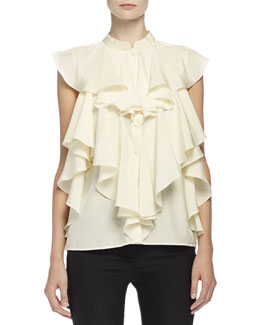 Alexander McQueen Ruffled Blouse with Mandarin Collar