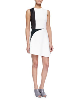 Narciso Rodriguez Colorblock Spike-Print Asymmetric Dress, White Multi