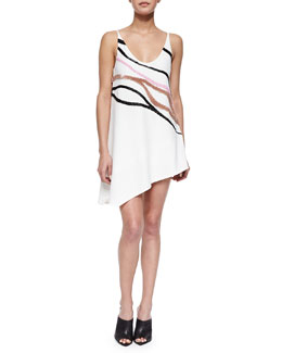 Narciso Rodriguez Wave-Embroidered Asymmetric Shift Dress