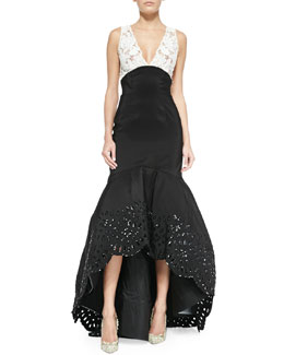 Oscar by Oscar de la Renta Colorblock Beaded-Eyelet High-Low Trumpet Gown, Black/Ivory