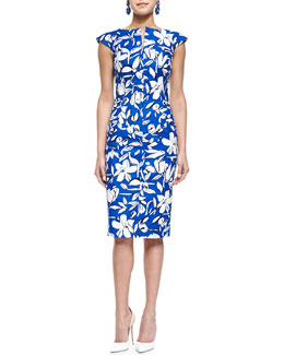 Oscar by Oscar de la Renta Floral-Print Bow-Back Pencil Dress, Cobalt