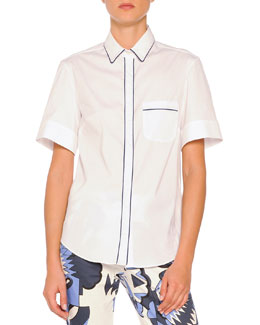 Piazza Sempione Short-Sleeve Contrast-Piped Blouse, White