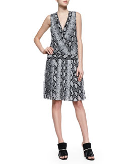Proenza Schouler Python-Print Drop-Waist Dress, Black/White
