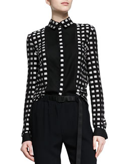 Proenza Schouler Square-Dotted Fil Coupe Button Blouse, Black/White