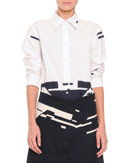 Jil Sander Broken Stripe-Print Button Blouse, White