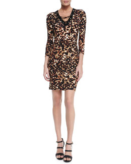 Roberto Cavalli Lace-Up Tortoise-Print Sheath Dress