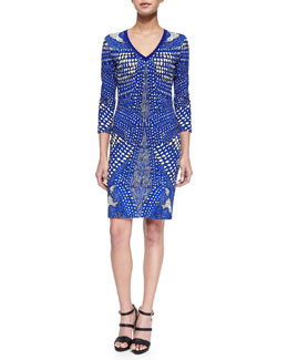 Roberto Cavalli Three-Quarter-Sleeve Armadillo-Print Sheath Dress, Cobalt