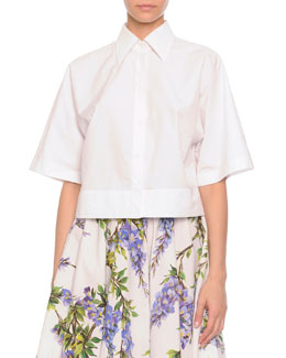 Dolce & Gabbana Button-Front Boxy Blouse, White