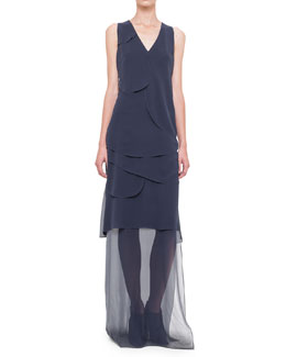 Akris Sleeveless Asymmetric-Overlay Gown, Navy