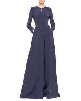 Akris Long-Sleeve Silk Crepe Pleated A-Line Gown, Navy