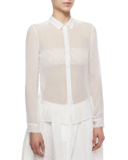 Adam Lippes Sheer Chiffon Button Blouse, Ivory