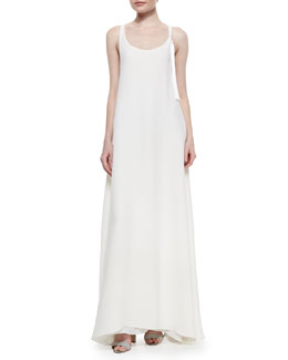 Adam Lippes Tassel-Detailed Racerback Gown, Ivory