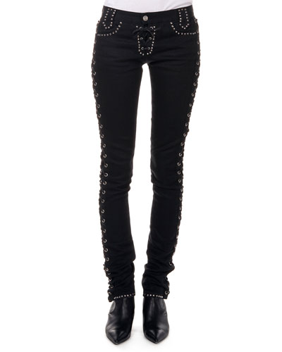 Studded Jeans W/ Corset Sides