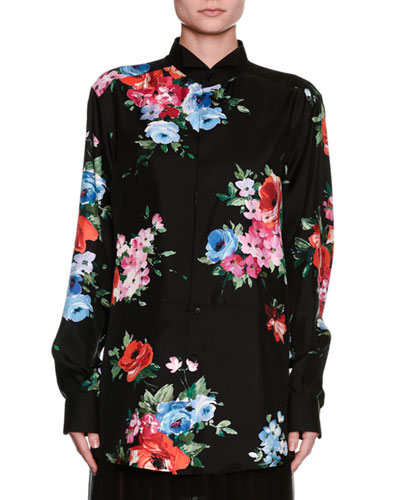 Long-Sleeve Floral-Print Pajama Blouse