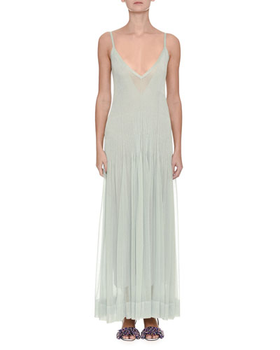 Sleeveless Plisse V-Neck Gown