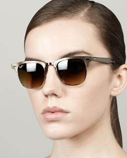 Ray-Ban Metal Frame Clubmaster Sunglasses, Bronze