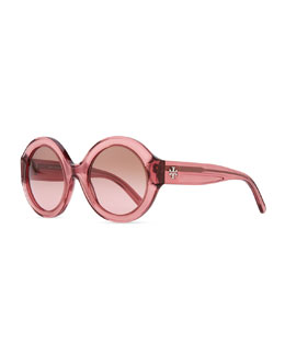 Tory Burch Round Plastic Sunglasses, Rose