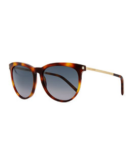 Saint Laurent Plastic Sunglasses with Metal Arms, Havana