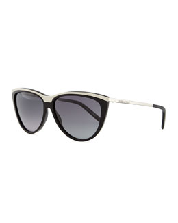 Saint Laurent Metal-Brow Cat-Eye Sunglasses, Black
