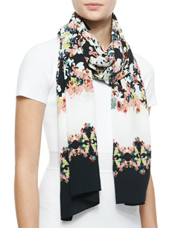 Erdem Long Silk Peabody Wallpaper Floral Scarf, Black/White/Multi