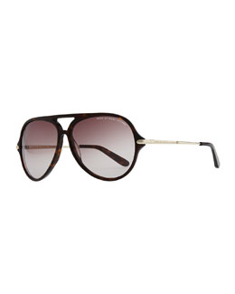 MARC by Marc Jacobs Tortoise Plastic Aviator Sunglasses, Dark Brown