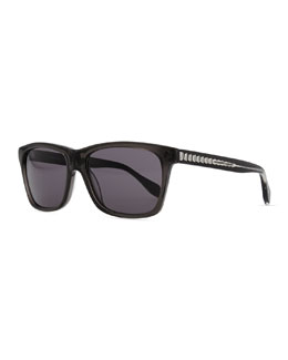 Alexander McQueen Acetate Rectangle Sunglasses, Black/Gray